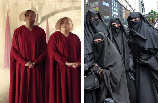 handmaids tale garb vs islamic hijabs